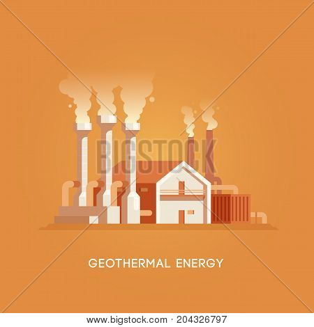Vector flat illustration. Alternative sources of energy. Green energy. Geothermal station.