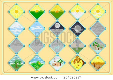 vector and illustration of weather icons for decoration contains the weather on a regular day as well as the weather of summer rainy winter and more.