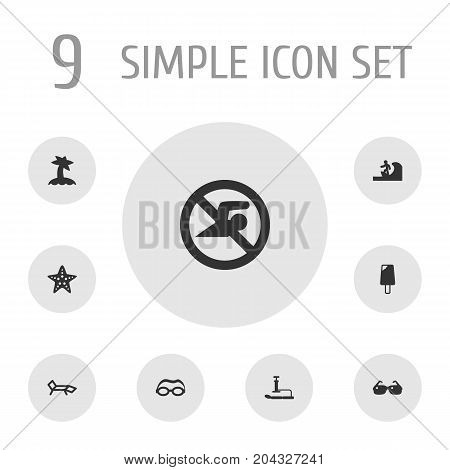 Collection Of Mask, No Swimming Sign, Lounge And Other Elements.  Set Of 9 Coast Icons Set.