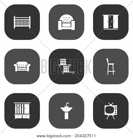Collection Of Couch, Cupboard, Chair And Other Elements.  Set Of 9 Situation Icons Set.