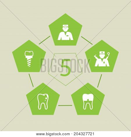 Collection Of Dentist, Decay, Orthodontist And Other Elements.  Set Of 5 Dentist Icons Set.