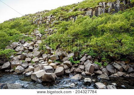 view of beautiful basalt stone columns in Skaftafell national park Iceland selective focus