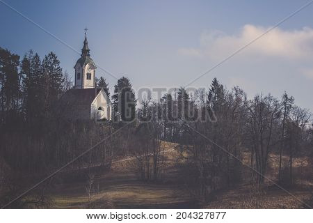 Vista of small church with small sidewalk at the top of hill in the valley behind green trees line under clear blue sky and less cloud near lake Bled in Slovenia, Beautiful landscape of white church with light shining side on slope mound covered in brown