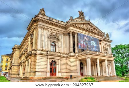 Brno, Czech Republic - July 15, 2017: View of Mahen Theatre the old town of Brno. Mahen Theatre, built as German Deutsches Stadttheater in 1882, was one of the first public buildings in the world lit entirely by electric light.