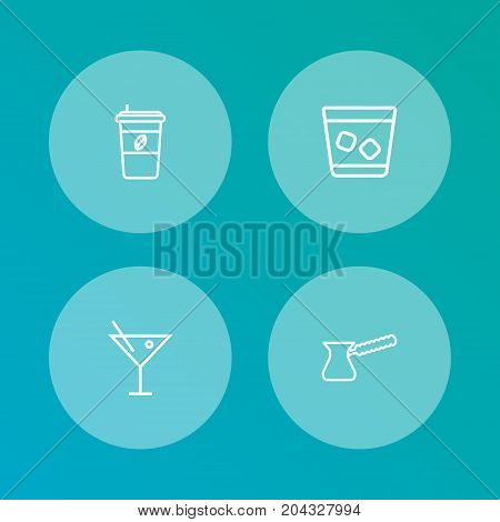 Collection Of Cocktail, Cappuccino, Pot And Other Elements.  Set Of 4 Drinks Outline Icons Set.
