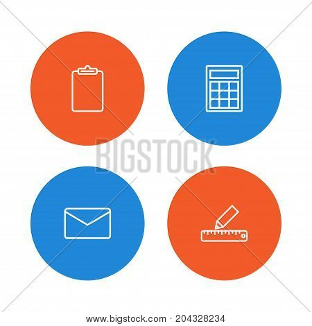 Collection Of Calculator, Mail, Pencil And Other Elements.  Set Of 4 Stationery Outline Icons Set.