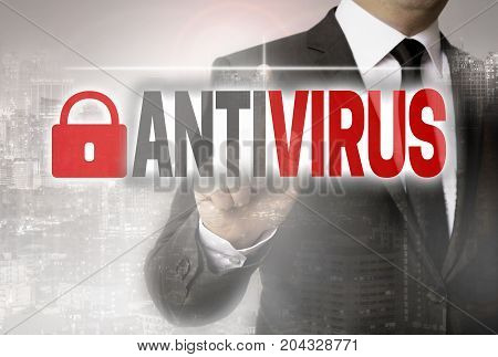 Antivirus is shown by businessman concept picture