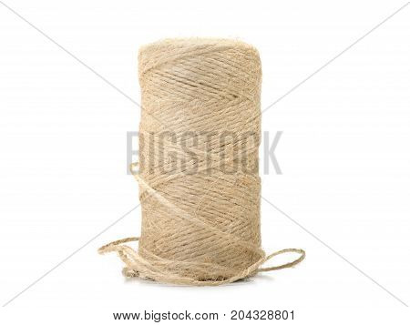 Beige spool of thread isolated on white background.