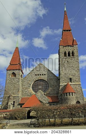 medieval cathedral in Tampere, Finland. The cathedral was built between 1902 and 1907