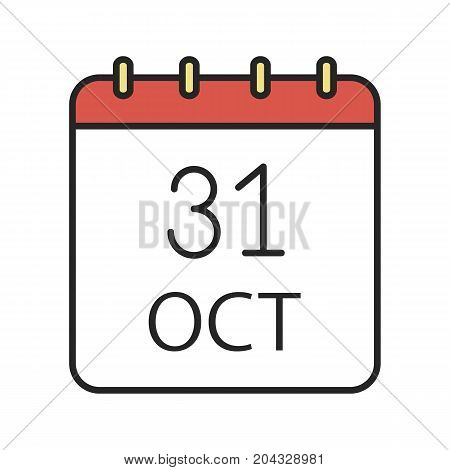 Halloween date color icon. World Savings Day. Thirty first of October. Isolated vector illustration