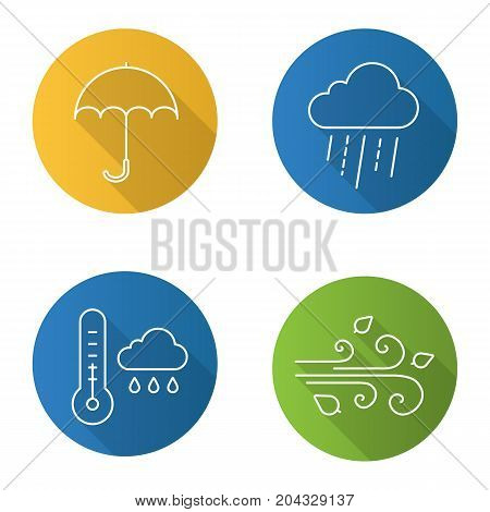 Autumn weather flat linear long shadow icons set. Rainy cloud with thermometer, umbrella, wind blowing. Vector outline illustration