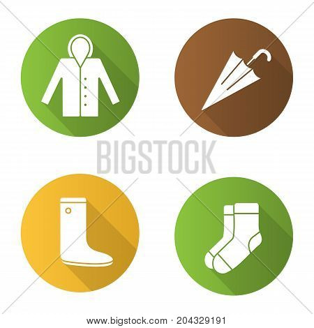 Autumn clothes flat design long shadow glyph icons set. Raincoat, warm socks, watertight, closed umbrella. Vector silhouette illustration