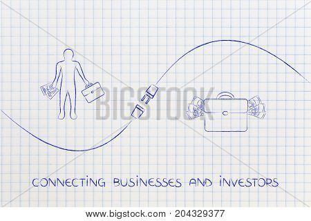 Connecting Businesses And Investors With Businessman, Bag Of Money And Plug