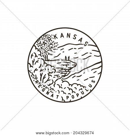 Vintage vector round label. Arkansas. Ozark national forest