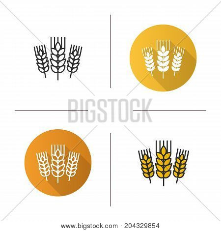 Wheat ears icon. Flat design, linear and color styles. Spikes of rye. Barley isolated vector illustrations