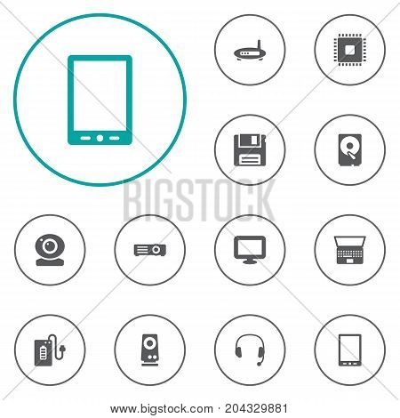 Collection Of Router, Supply, Headset And Other Elements.  Set Of 12 Notebook Icons Set.
