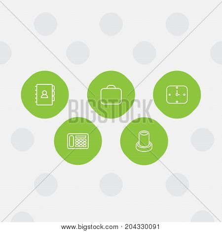 Collection Of Telephone, Wall Clock, Pencil And Other Elements.  Set Of 5 Workspace Outline Icons Set.