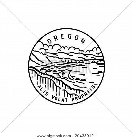 Vintage vector round label. Oregon Bay. Ocean