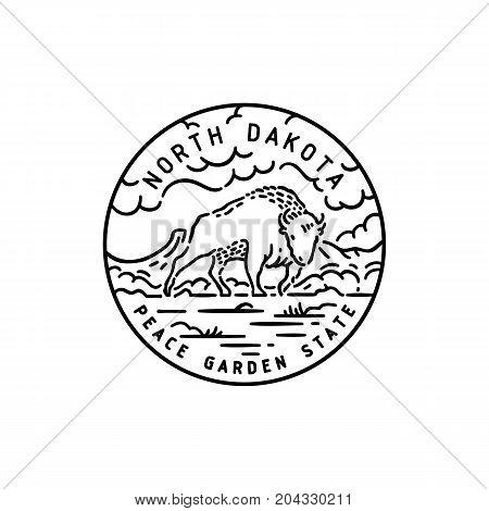 Vintage vector round label. North Dakota. Bison