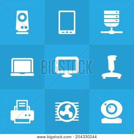 Collection Of Record, Datacenter, Display And Other Elements.  Set Of 9 Computer Icons Set.