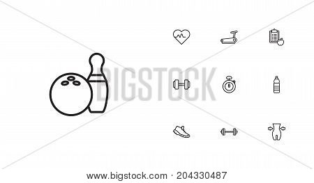 Collection Of Barbell, Pulse, Stopwatch And Other Elements.  Set Of 10 Training Outline Icons Set.