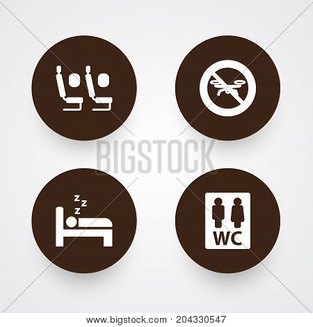 Collection Of Toilet, Tourism, No Drone And Other Elements.  Set Of 4 Aircraft Icons Set.