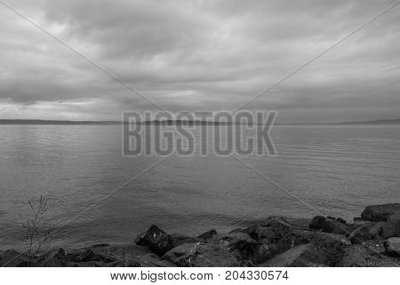 A view of the Puget Sound on an overcast day.