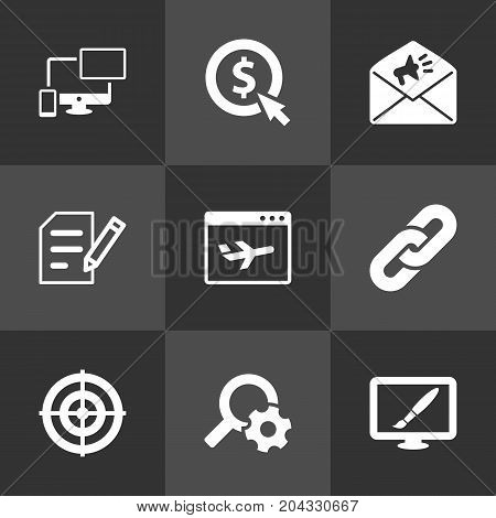 Collection Of Author Rights, Dartboard, Announcement And Other Elements.  Set Of 9 Engine Icons Set.