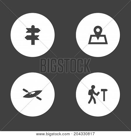 Collection Of Location, Arrows, Canoe And Other Elements.  Set Of 4 Journey Icons Set.