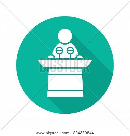 Politician flat design long shadow glyph icon. Orator speech. Speaker podium. Vector silhouette illustration