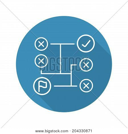 Problem solving flat linear long shadow icon. Decision making. Vector outline symbol