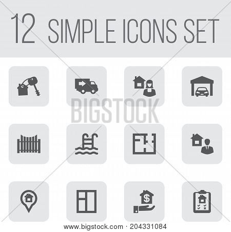 Collection Of House Keys, Casement, Hypothec And Other Elements.  Set Of 12  Icons Set.