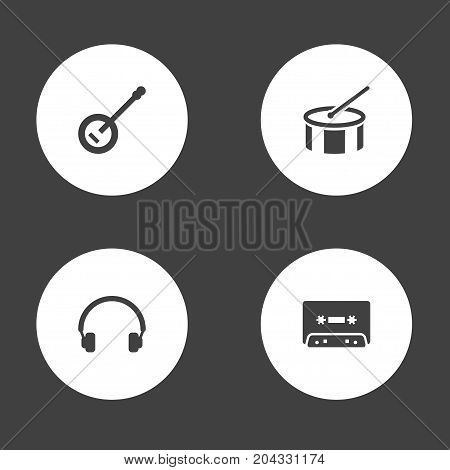 Collection Of Tambourine, Banjo, Tape And Other Elements.  Set Of 4 Song Icons Set.