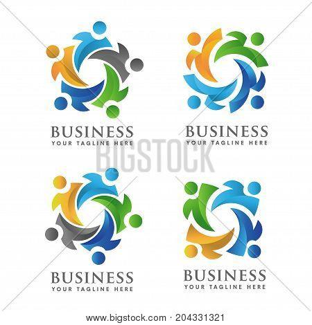 Illustration concept of people activity and community logo set.community no profit logo, education child logo