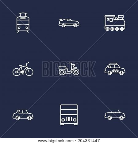 Collection Of Tram, Train, Coupe And Other Elements.  Set Of 9 Shipping Outline Icons Set.