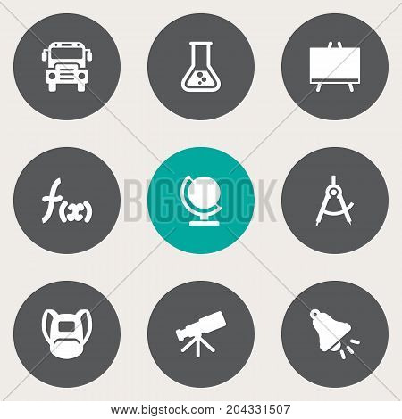 Collection Of Geometry, Rucksack, Autobus And Other Elements.  Set Of 9 Knowledge Icons Set.