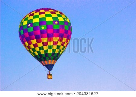 Multi Colored Squares On Hot Air Balloon