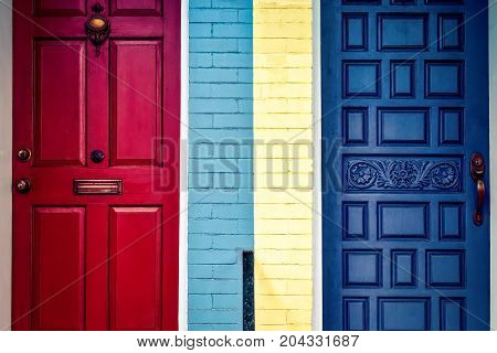 Colorful Virginia doors not sure if these neighbors are talking or not...