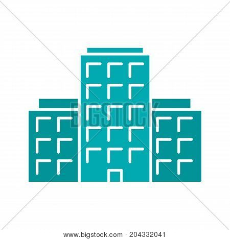 Multi-storey building glyph color icon. Apartment house. Tower block. Silhouette symbol on white background. Negative space. Vector illustration