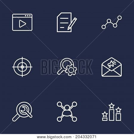 Collection Of Copyright, Columns, Wrench And Other Elements.  Set Of 9 Engine Outline Icons Set.