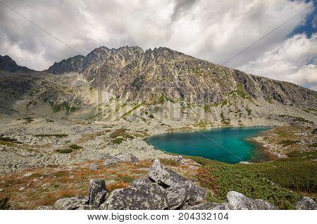 Valley with beautiful alpine lake ander highest peak of Tatra Mountains - Gerlachovsky stit