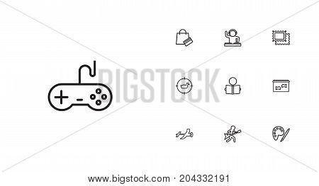 Collection Of Guitar, Aquarium, Hunting And Other Elements.  Set Of 10 Entertainment Outline Icons Set.