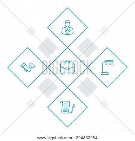 Collection Of Portfolio, Agreement, Administrator And Other Elements.  Set Of 5 Bureau Outline Icons Set.