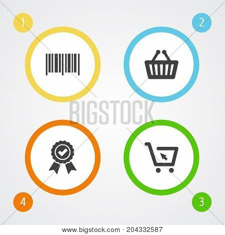 Collection Of Bag, Cart, Guarantee And Other Elements.  Set Of 4 Shopping Icons Set.