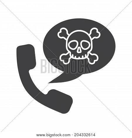 Dangerous telephone call glyph icon. Silhouette symbol. Handset with skull and crossbones inside speech bubble. Negative space. Vector isolated illustration