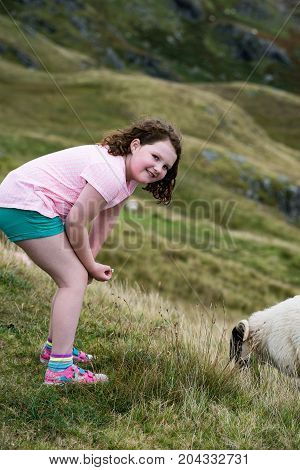 View of Girl looking at sheep grazing while walking up the Slieve League Cliffs, County Donegal, Ireland