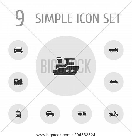 Collection Of Streetcar, Autobus, Hatchback And Other Elements.  Set Of 9 Transport Icons Set.