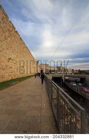 Jerusalem, Israel - Feb 04, 2017: Street Near Jaffa Gate
