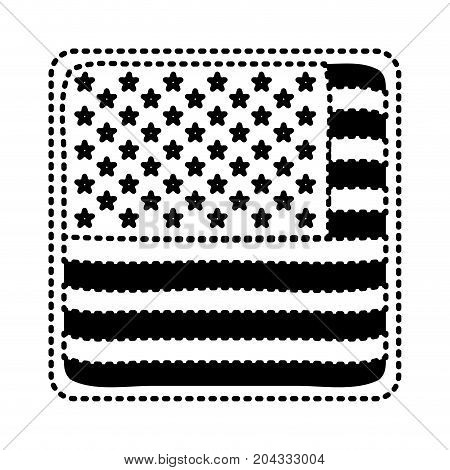 shield in square shape with flag united states of america black silhouette on white background vector illustration