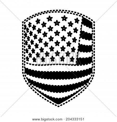 emblem of flag united states of america black silhouette on white background vector illustration